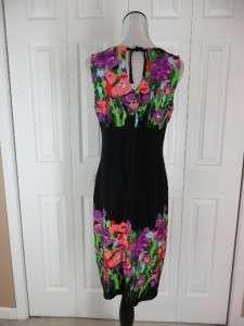 NWT Scarlett Size 8 Sleeveless Black Floral Dress Keyhole Purple Pink