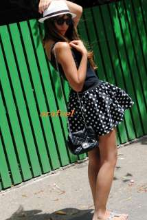 POLKA dot print mini skirt black navy white vintag 6/8