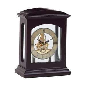Kassel Linden Wood Table Clock with Gold Tone Finished Quartz Movement