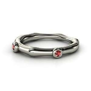 Bamboo Two Stone Ring, 14K White Gold Ring with Red Garnet Jewelry