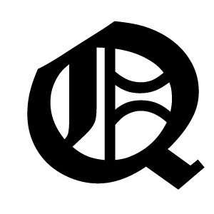 Old English Lettering Letter Q White Decal: Automotive