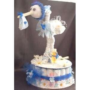 Blue DIAPER STORK Baby Shower Gift Centerpiece Boy Girl Diaper Cake