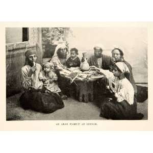 Print Portrait Arab Family Eat Dinner Costume Fashion Tradition Table