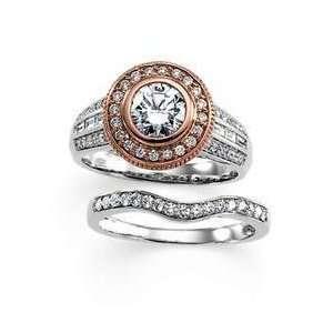 14K White & Rose Gold Diamond Semi Mount Engagement Ring Jewelry