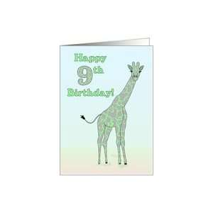 Happy 9th Birthday   Green Giraffe Card Toys & Games