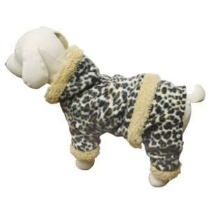 Adorable Leopard Print Hooded Fleece Bodysuit for Dogs S