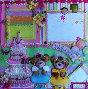 Premade SCRAPBOOK Pages Paper Piecing TEAR Bear DISNEY Princesses