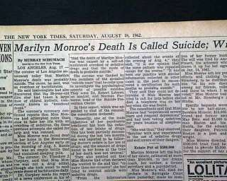 DEATH SUICIDE REPORT Norma Jean Baker 1962 Newspaper 1st Report