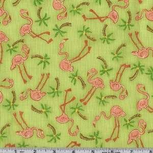 45 Wide Moda Beach Birdies Flamingo Toss Palm Tree Green
