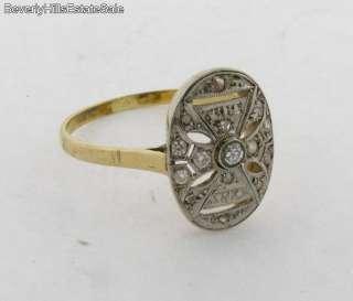 Antique Art Deco 11 Diamonds 18k Gold Ring