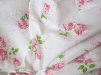 TWO Vintage Sheets~Shabby Cottage Chic Pink Roses on White~Dan River