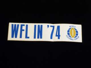 WFL Logo STICKER DECAL   1974   1st First Year Vintage