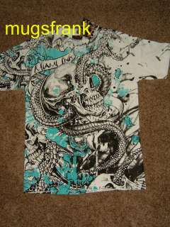 Miami Ink Tv Show Reptilian Skull Tattoo T Shirt Nwt