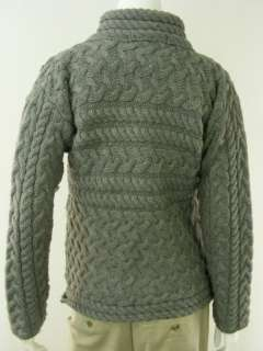 wool irish fisherman jacket sweater cardigan Inis Crafts gray M