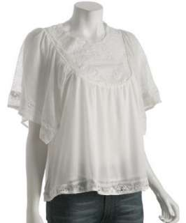 Romeo & Juliet Couture ivory silk embroidered flutter sleeve top