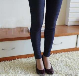 Super Warm Fur Fleece Lined Jeans Look Legging Pants Tights trousers