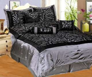Zebra Faux Silk Satin Comforter Set Silver Gray Black