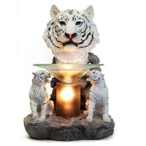 White Tiger Head with Black Cylinder Electric Oil Warmer Lamp