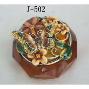Amber Glass Jewelry Trinket Box W Mosaic Butterfly and