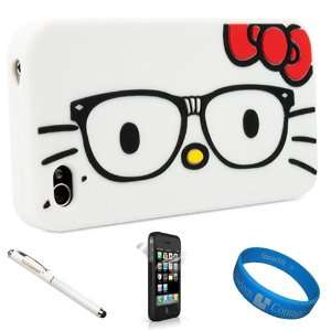 White Nerdy Glasses Hello Kitty Snug Fit Soft Silicone