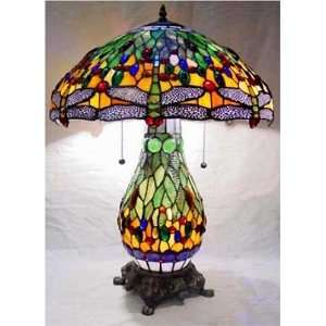 Tiffany Stained Glass Table Lamp Light Base Dragonfly