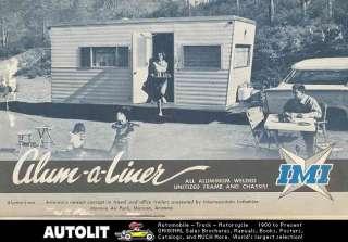 1959 ? IMI Alum A Liner Travel Trailer Brochure Marana Arizona
