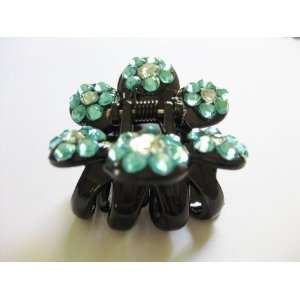 Blue Rhinestone Flower Plastic Hair Claws Beauty
