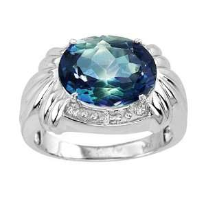 Large Oval Mystic Blue Topaz & Diamond Ring set in 14K