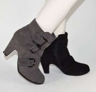 Womens High Heel Ankle Boots Imitation Suede Boots in Black or Gray