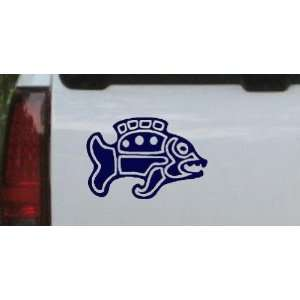 Tribal Fish Animals Car Window Wall Laptop Decal Sticker    Navy 28in