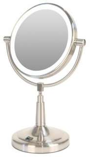 New LED Battery Lighted Magnifying Makeup Mirror Nickel