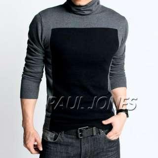 PAUL JONES Simple Patched Warm Cotton Knit Turtleneck Sweater& Jumpers