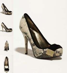 Taupe Multi GREGI Snakeskin w/Bow Tie Pumps Sandals Shoes Heels