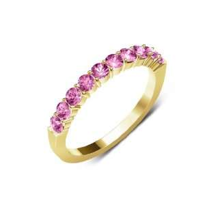 Clarity,Pink Color) 10 Stone Wedding Band in 18K Yellow Gold.size 7.0