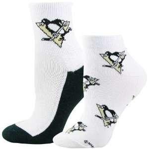 Penguins Ladies White Quarter & Footie 2 Pack Socks
