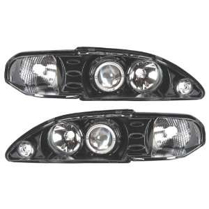 94 98 Ford Mustang Black LED Halo Projector Headlights /w