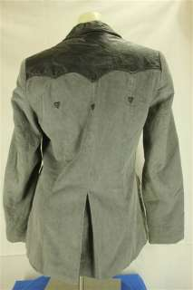 Ms. Pioneer Wear Gray Black Corduroy & Leather Western Suit Blazer