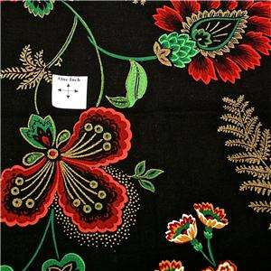 Concord Cotton Fabric, Joan Kessler Design, Bright Red Flowers on