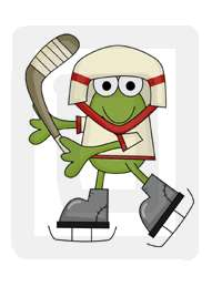 The hockey frog measures 6.5 x 8.