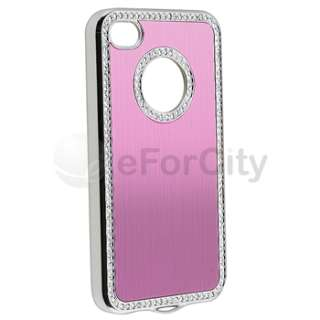 Luxury Bling Rhinestone Pink Hard Case Cover for Apple Verizon iPhone