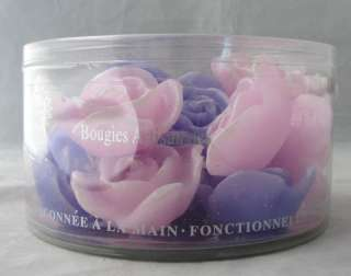CANDLE ART PINK+PURPLE FLOATING ROSE FLOWER CANDLES NEW