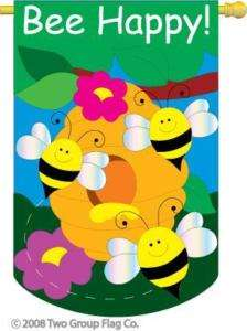 28 X 44 BEE HAPPY BUMBLE BEE APPLIQUE FLAG BRAND NEW