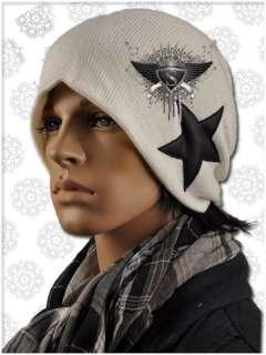 AM063 White Star Design Punk Men Beanie Ski Hat Fashionable