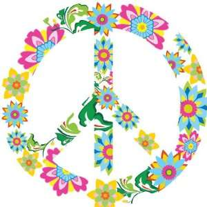 Kids Peace Sign Vinyl Wall Decal Flowers Leaves Vine