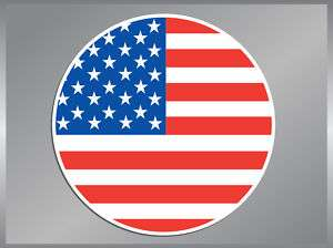 American Flag Round vinyl decal USA Bumper Sticker