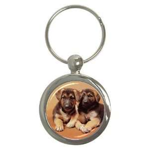 German Shepherd Puppies Key Chain (Round)