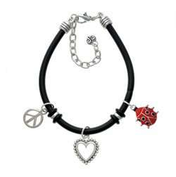 Red Ladybug Black Peace Love Charm Bracelet [Jewelry