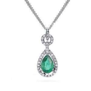 1.95Ct Pear Cut Emerald & VS Diamond Pendant 18k Gold Jewelry