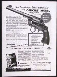 1937 COLT Officers Model .38 Revolver magazine Ad s717