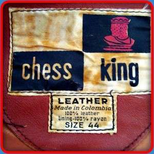 CHESS KING Vintage 70s mod club Leather MOTORCYCLE Biker JACKET Mens